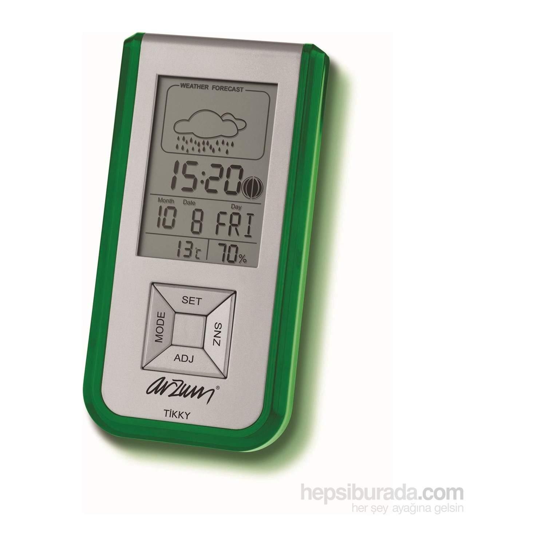 Arzum AR714 Tikky Lcd Ekranlı Çalar Saat/Nem Ölçer-Yeşil - KIRMIZI