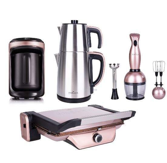 Karaca 4lü Hatır Hüp Kahve Makineli Elektrikli Çeyiz Seti Rosegold