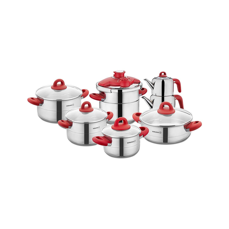 Korkmaz A1708-2 Hera Kırmızı 14 Parça Çelik Hiper Set