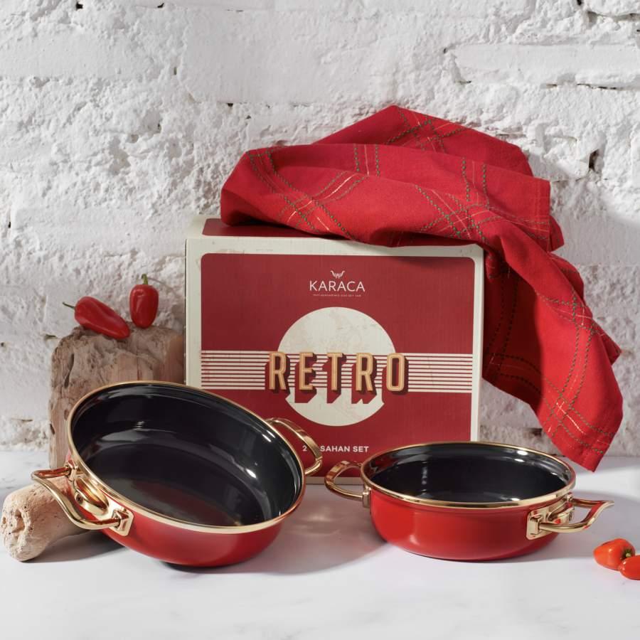 Karaca Retro Emaye 2li Kırmızı Sahan Set