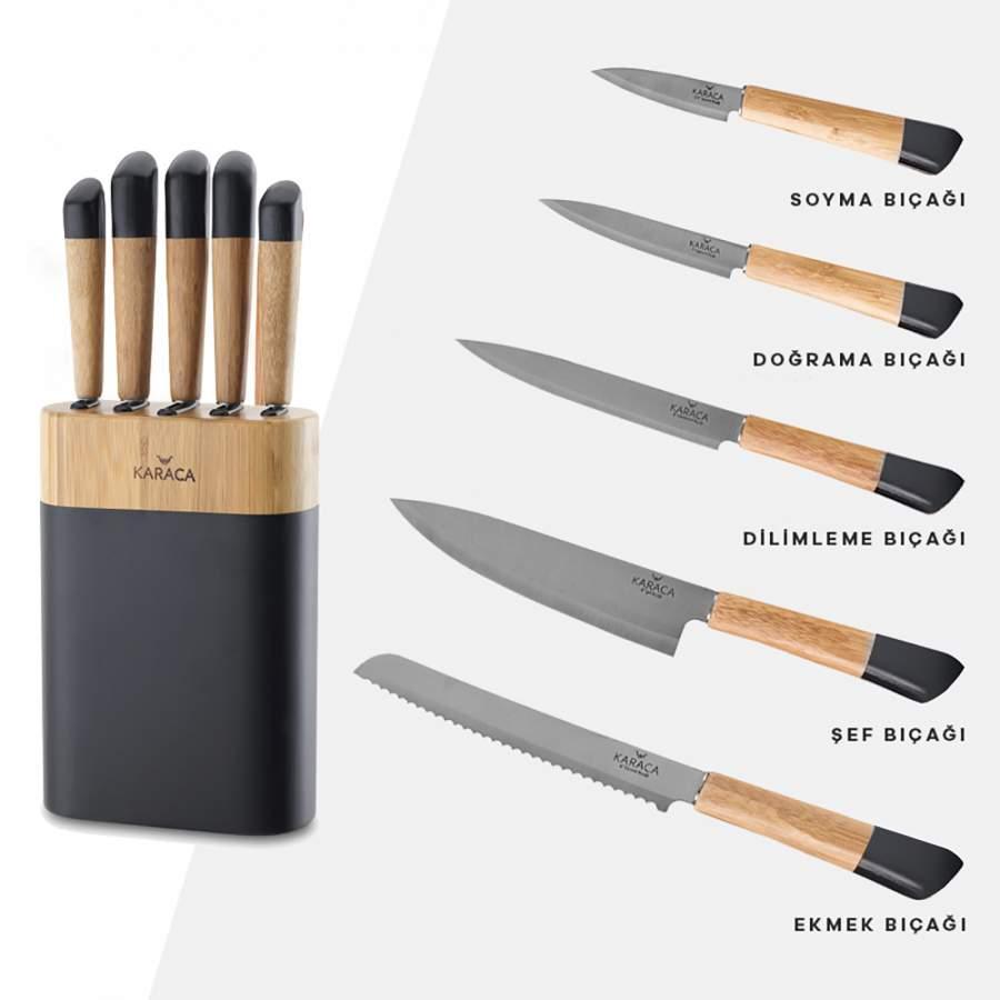Karaca Maple Black 6 Parça Bıçak Seti